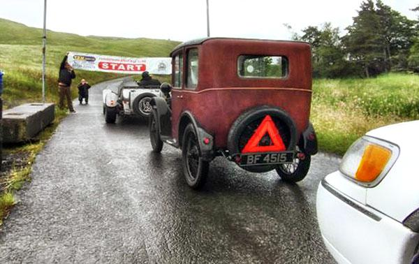 An Austin 7 lining up for a sub 60 second run at the hill - previous best 91 seconds!