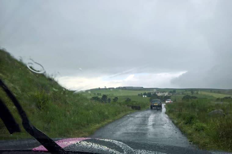 Forrestburn in the rain by Peter Locke